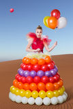 Beautiful woman in balloon dress Royalty Free Stock Photo