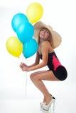 Beautiful woman with balloons Stock Photos