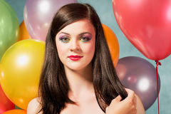 Beautiful woman with balloons Stock Photos