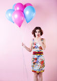 Beautiful woman with balloons. Concept Celebration and Party. Stock Images