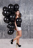 Beautiful woman with balloons royalty free stock photos