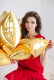 Beautiful woman with balloons. Royalty Free Stock Photos