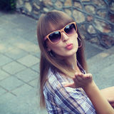 Beautiful woman with bangs Stock Images
