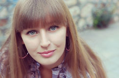 Beautiful woman with bangs Royalty Free Stock Photo