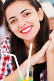 Beautiful woman in bar Stock Images