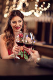 Beautiful woman in bar Royalty Free Stock Images