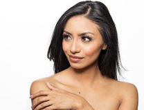 Beautiful woman with bare shoulders gorgeous hair Stock Photos