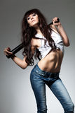 Beautiful woman with baseball bat Stock Photography