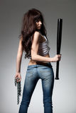 Beautiful woman with baseball bat Royalty Free Stock Photos