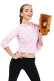 Beautiful woman with baseball equipment Royalty Free Stock Photos