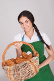 Beautiful woman with basket of croissants Stock Photos