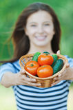 Beautiful woman basket vegetables Royalty Free Stock Image
