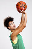 Beautiful woman with basketball Royalty Free Stock Photos