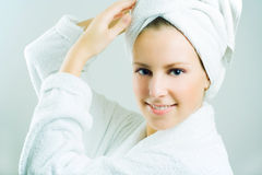 Beautiful woman after bath. Stock Images
