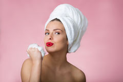 Beautiful woman with bath towel Royalty Free Stock Photos