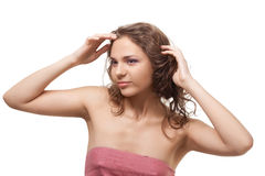 Beautiful woman after bath wearing towel Stock Image