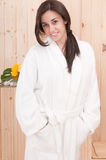 Beautiful woman with bathrobe Stock Photos