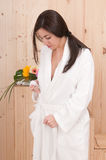 Beautiful woman with bathrobe Stock Photo