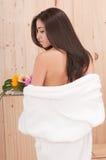 Beautiful woman with bathrobe Royalty Free Stock Photos