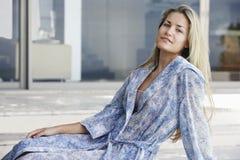 Beautiful Woman In Bathrobe Royalty Free Stock Photos