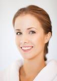 Beautiful woman in bathrobe. Bright closeup portrait picture of beautiful woman in bathrobe Stock Image