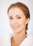 Beautiful woman in bathrobe. Bright closeup portrait picture of beautiful woman in bathrobe Stock Images