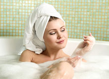 Beautiful woman in a bathroom Royalty Free Stock Image