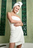 Beautiful woman in a bathroom Stock Photography