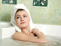 Beautiful woman in a bathroom Royalty Free Stock Photos