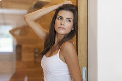 Beautiful woman in the bathroom Stock Images