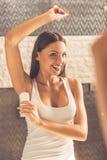 Beautiful woman in bathroom royalty free stock image
