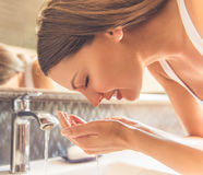 Beautiful woman in bathroom Royalty Free Stock Photos