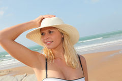 Beautiful woman at the beach Royalty Free Stock Images