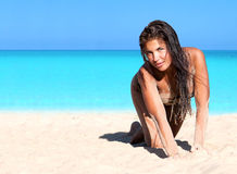 Beautiful woman on the beach Stock Photos