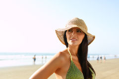 Beautiful woman on the beach Royalty Free Stock Images