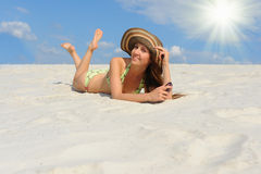 Beautiful woman on the beach Royalty Free Stock Photo