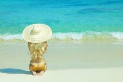 Beautiful woman on beach Royalty Free Stock Photo