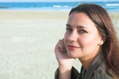 Beautiful woman on beach Stock Photography