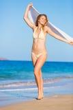Beautiful Woman on the Beach Stock Photography