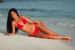 Beautiful woman on beach Royalty Free Stock Images
