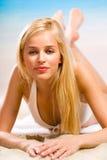 Beautiful woman on beach Stock Photography