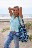 Beautiful woman on beach casual clothes Royalty Free Stock Photo