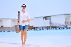 Beautiful woman on beach have fun and relax Royalty Free Stock Photos
