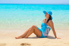 Beautiful woman on the beach of Mahmya island Stock Photos