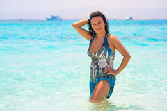 Beautiful woman on the beach of Mahmya island Royalty Free Stock Photos