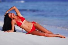 Beautiful woman on beach Royalty Free Stock Image