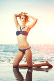 Beautiful woman on the beach by the sea royalty free stock photo