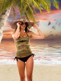 Beautiful woman on the beach. Stock Photo