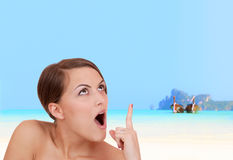 Beautiful woman on the beach. Royalty Free Stock Images