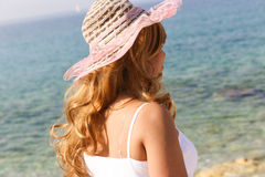 Beautiful woman at beach Stock Images